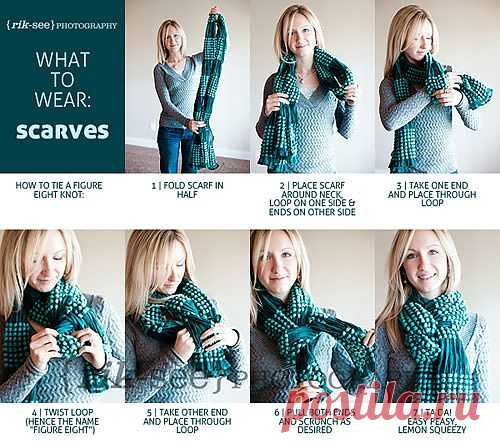 Как красиво завязать женский шарф   Рукоделие   Treasurebox - пошаговые мастер-классы