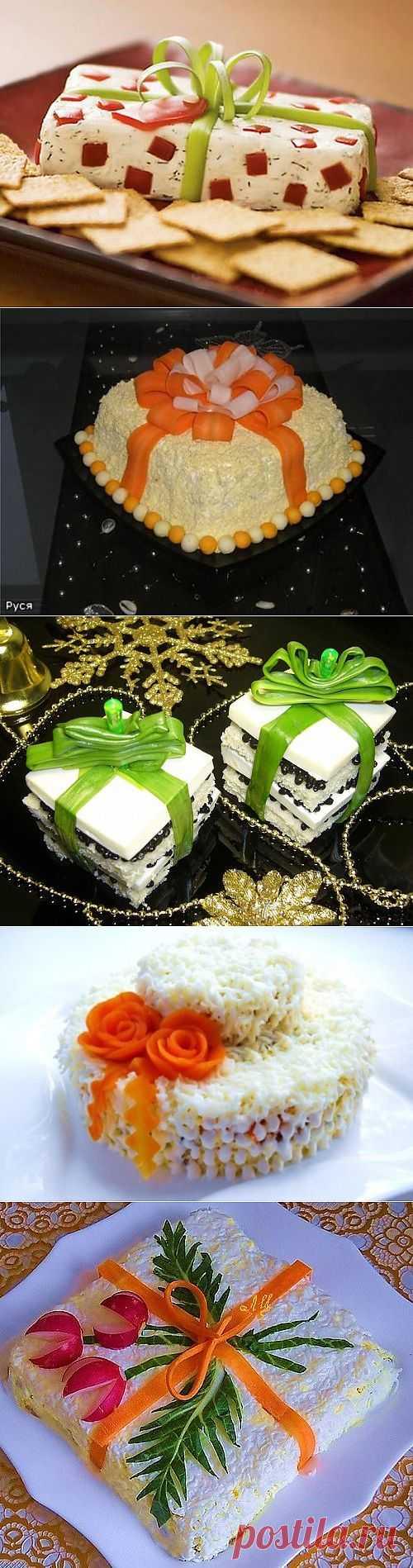 Съедобные новогодние «подарки»: салаты и закуски в виде подарков / Простые рецепты