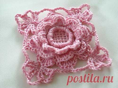 Вязание крючком красивых rosruta