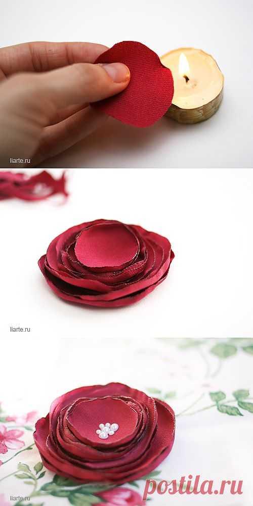 простые цветы из ткани своими руками с бусинками