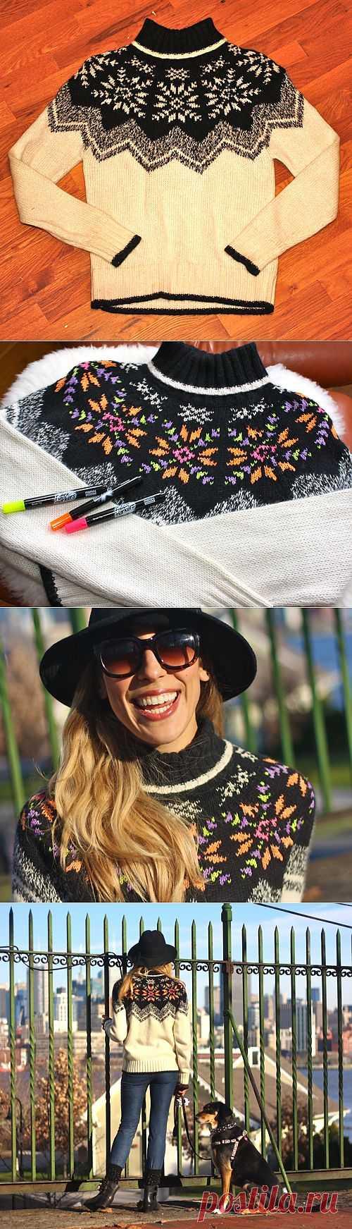 Свитер - раскраска (мастер-класс) / Свитер / Модный сайт о стильной переделке одежды и интерьера