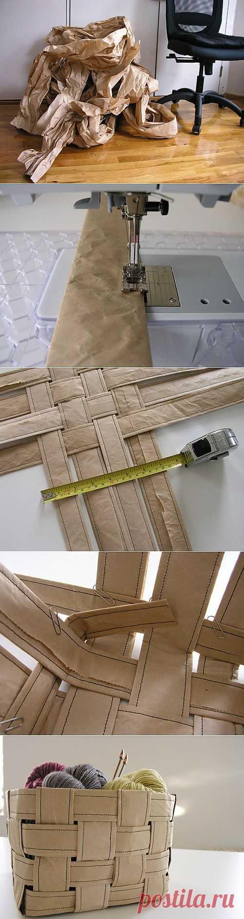 Оригинальная корзина из упаковочной бумаги..