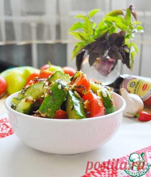 Закуска из маринованных помидоров и огурцов - кулинарный рецепт