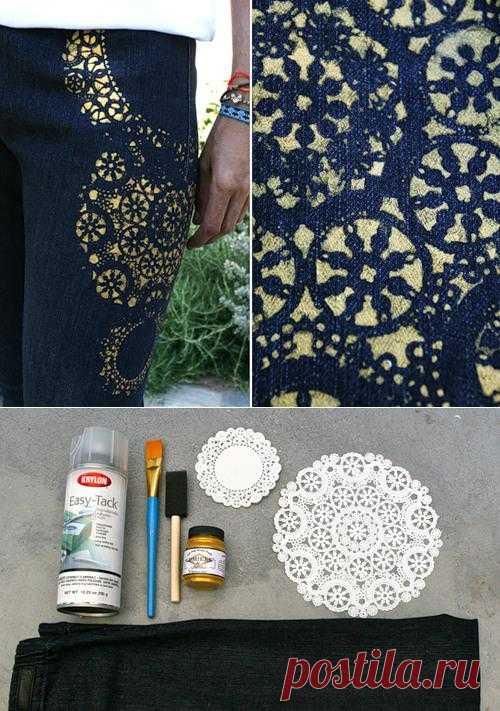 Как украсить джинсы. Если вам надоели однообразные синие (голубые, черные) джинсы, то у вас есть возможность украсить их с помощью всевозможных техник. Одна из них – роспись по ткани.