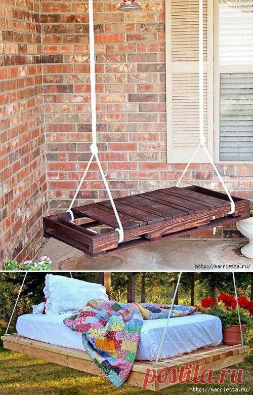 Качели из деревянного поддона: дома, на даче.  Все для вашего удобства.