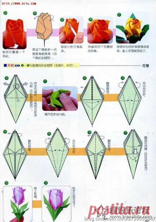 diy 玫瑰花折纸图解-编织乐论坛