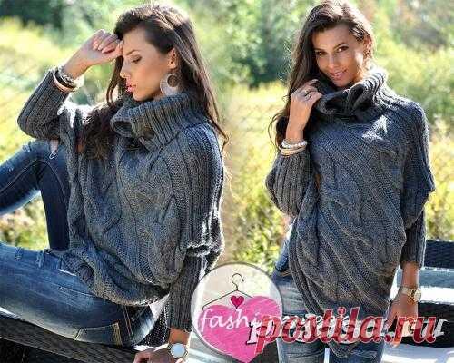Пуловер – пончо спицами с рукавами