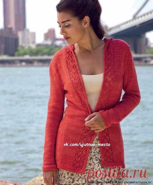 Кардиган Brooklyn Bridge by Melissa Wehrle  Размер: ОГ = 81.5 [89, 95, 103, 112, 122, 132] см.  На фото представлен кардиган в размере 81.5 см     Плотность вязания: 27п х 34р = 10х10 см; 15 — 19 п узора по схеме = 5.5 см шириной;  1-шнур на трех петлях = около 6 мм шириной.   Вам потребуется: пряжа Lorna's Laces Shepherd Sock (80% superwash меринос, 20% нейлон; 393 м/100 г): 4 (5, 5, 5, 6, 6, 6) мотка, спицы 3.5 мм круговые, маркеры (петледержатели)   1-шнур на трех петля...