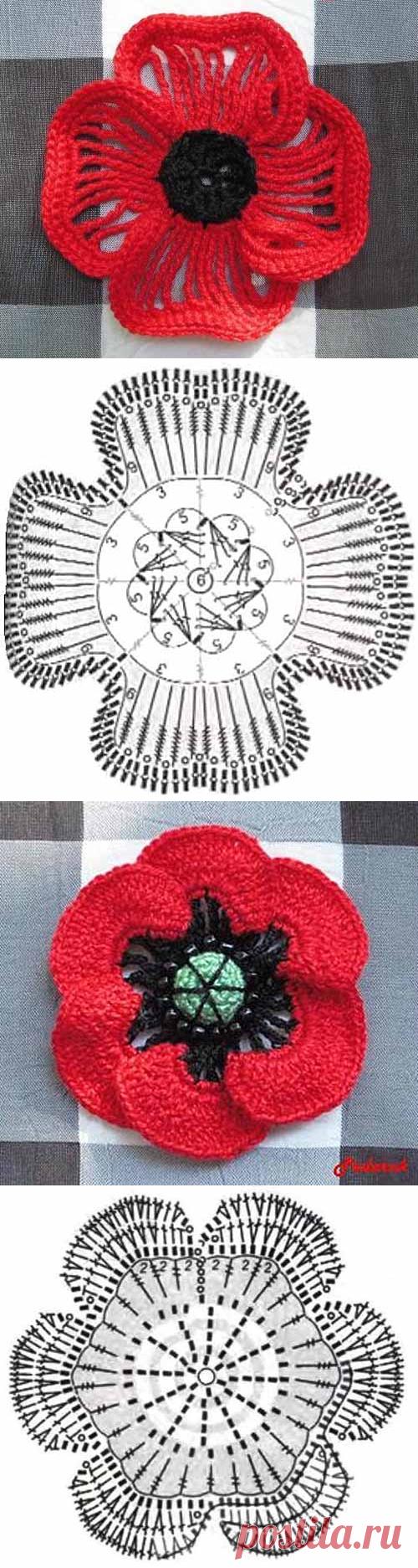 маки вязание крючком схемы и описание вязание и рукоделие постила