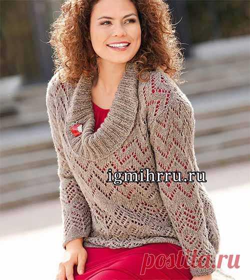 Ажурный пуловер с большим воротником  В ажурном пуловере из тонкой легкой пряжи горловина оформлена большим широким воротником более плотной структуры. Такой воротник красиво драпируется на плечах и груди. Размеры: 42/44 (46/48) 50/52 Ра…