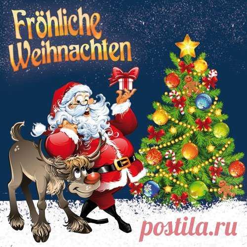 Мир, открытка к новом году на немецком