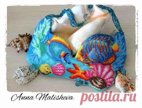 Мастер-класс: Колье «Морские глубины» Вышивка бисером, Колье, бусы, ожерелья из бисера – Бисерок