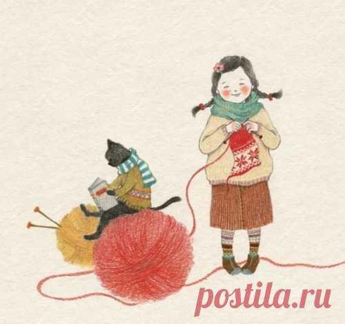 Девочка и ее кот - иллюстрации корейской художницы Lee S. Hee