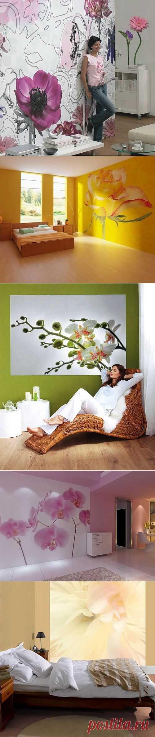 Декор стен!!! Цветочные фото-обои в интерьере.