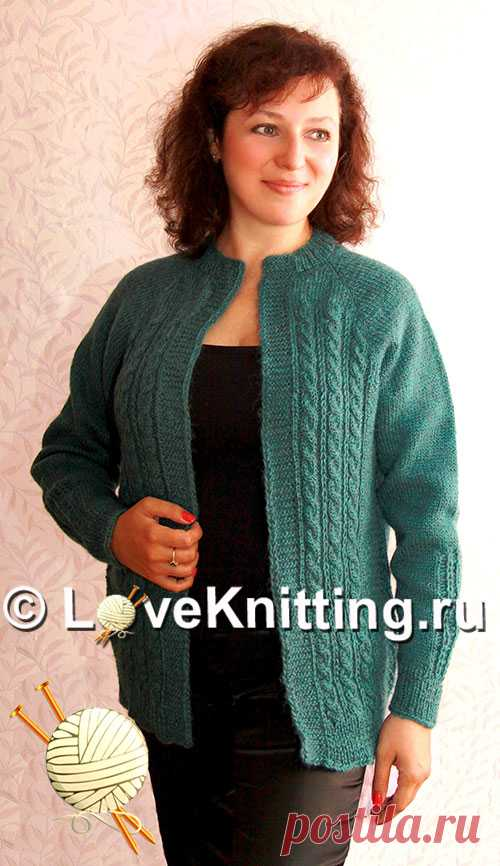 Кардиган цвета морской волны   Loveknitting.ru