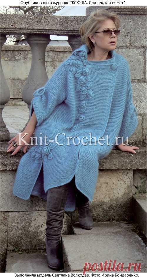 пальто спицами с украшением крючком пальто для женщин спицами