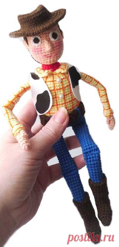 PDF Шериф Вуди крючком. FREE crochet pattern; Аmigurumi doll patterns. Амигуруми схемы и описания на русском. Вязаные игрушки и поделки своими руками #amimore - кукла, ковбой из мультфильма История игрушек, куколка, мальчик.