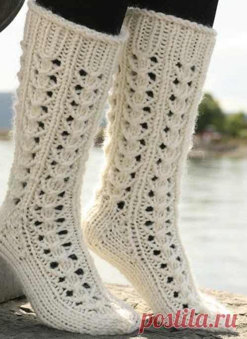 Вязания носков на спицах узоры