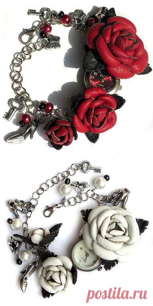 Часы-браслет с кожаными розами / Аксессуары (не украшения) / Модный сайт о стильной переделке одежды и интерьера