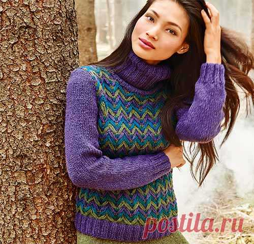 Sweater with a color pattern \u000d\u000aIn the center of attention — an effective pattern with the removed loops to which are executed before and a back. The smooth sleeves connected by an elastic band of a level and a collar golf frame a motley pattern.\u000d\u000aSIZES\u000d\u000a38\/40 (42\/44) 46\/48 …