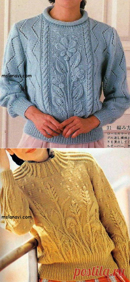 Вязаные пуловеры с цветами | Вяжем с Лана Ви