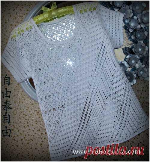 Белая блуза крючком с диагональным узором. Вяжем крючком филейный топ Белая блуза крючком с диагональным узором. Вяжем крючком филейный топ