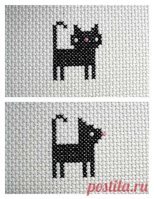 Вышитая кошка (анфас и профиль) / Вышивка / Модный сайт о стильной переделке одежды и интерьера