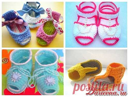 Как связать летние сандалики для малышей