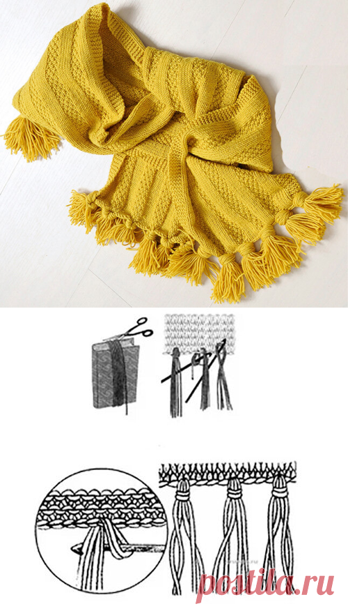 1000 идей для вязания спицами: Оформление края изделия бахромой или кистями
