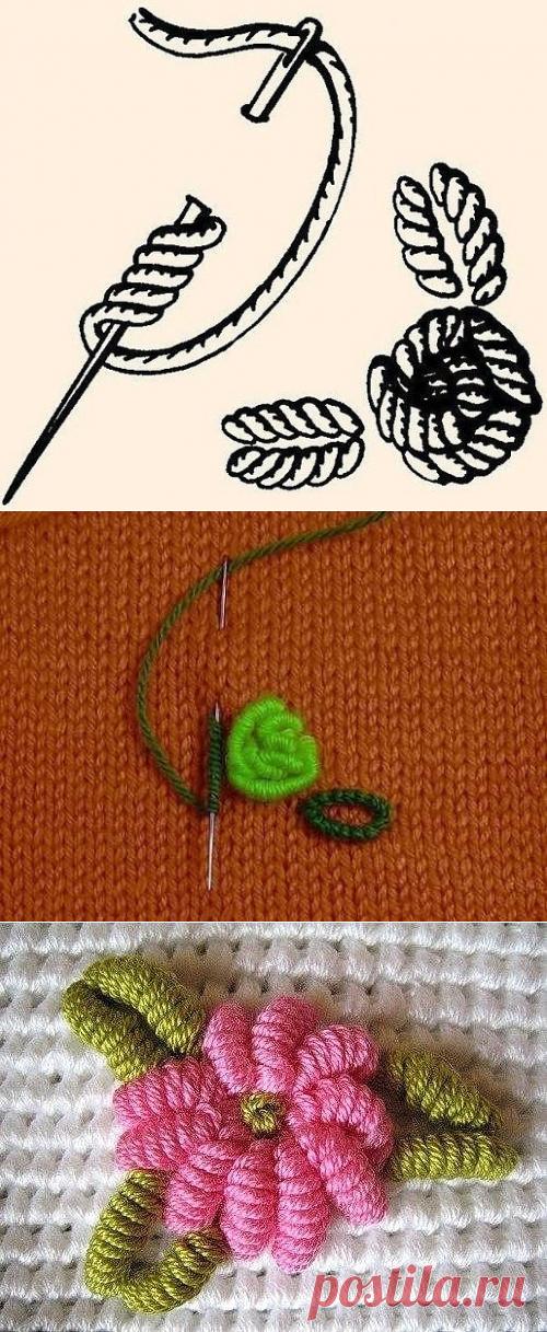 Вышивка рококо по вязаному полотну - основные приемы