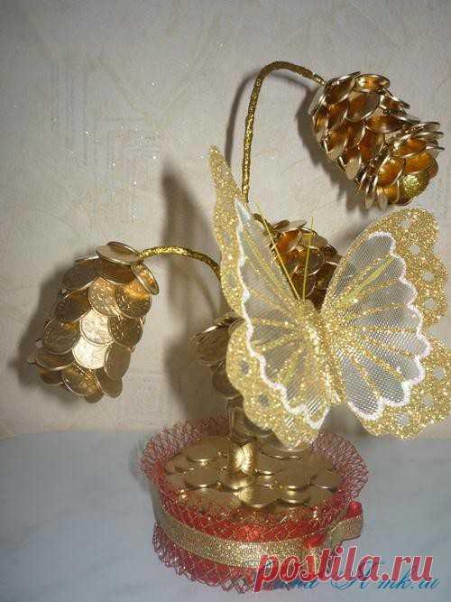 Золотой топиарий из монет - цветок с бутоном » Женский Мир