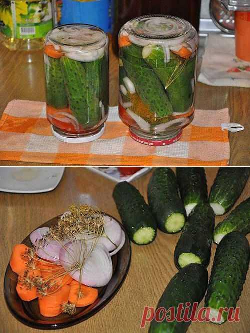 """Маринованые ОГУРЧИКИ """"Болгария отдыхает"""". Предлагаю попробовать еще один рецепт - огурцы маринованные с луком и морковью."""