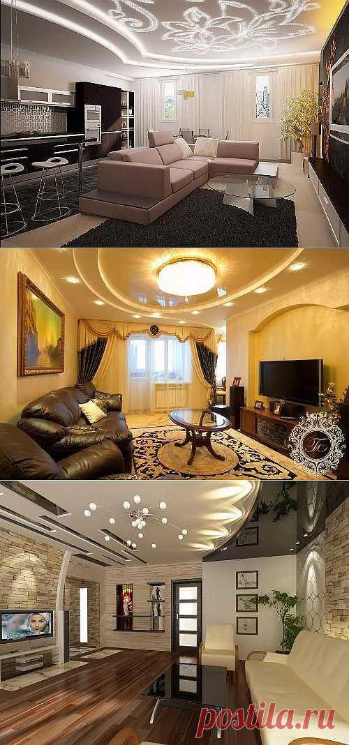 Потолок в гостиной. Советы по выбору потолка.