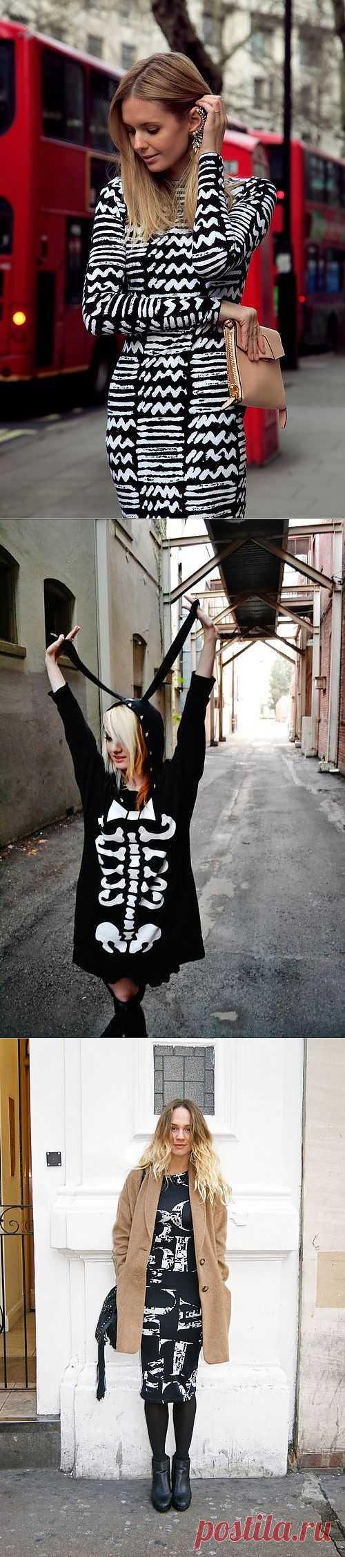 Белое на черном / Рисунки и надписи / Модный сайт о стильной переделке одежды и интерьера