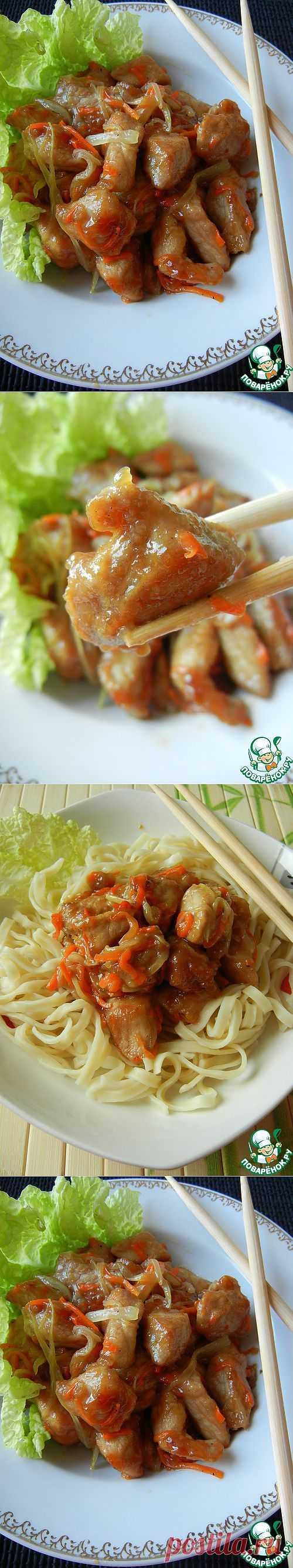 Свинина по-китайски в кисло-сладком соусе - нарядно,ярко,вкусно!.