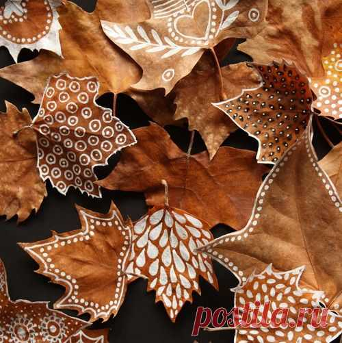 Роспись осенних листьев