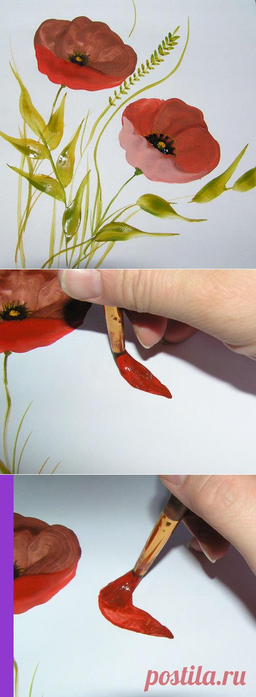 """Рисуем просто"""" часть №1 Полевые цветы """"Мак"""". - Ярмарка Мастеров - ручная работа, handmade"""