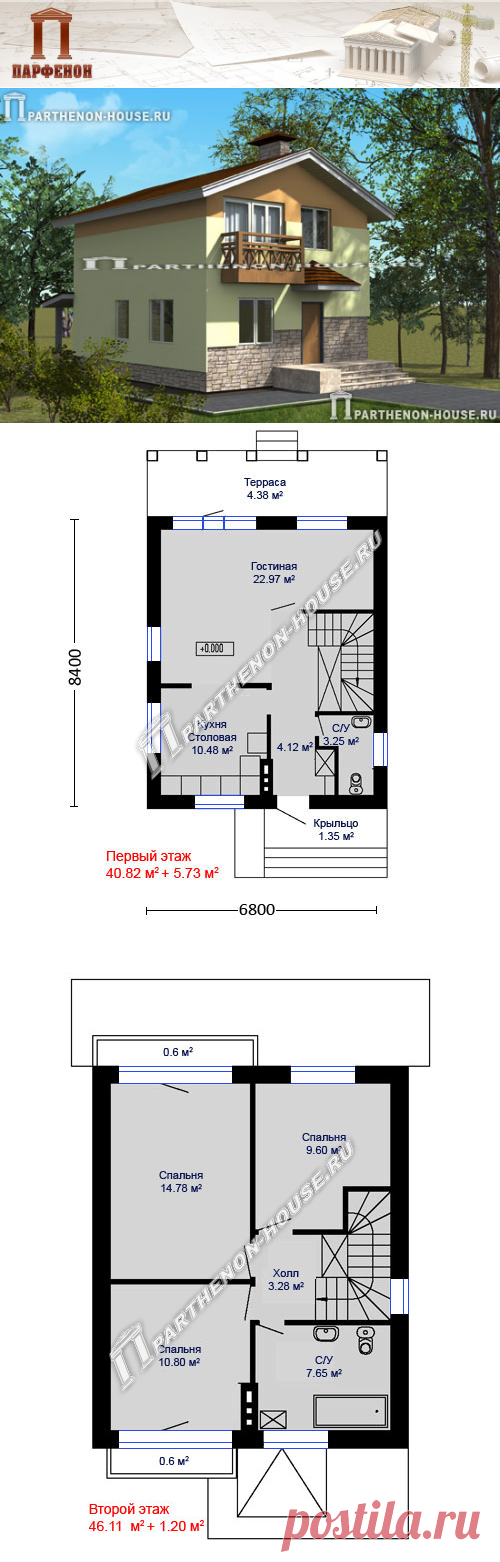 Проект небольшого двухэтажного дома из газобетона ЯА-107  Площадь общая: 107,60 кв.м. Площадь застройки: 90,05 кв.м. Площадь жилая: 58,15 кв.м. Габаритные размеры дома: 6,800 х 8,400 м. (в осях) Минимальные размеры участка: 13,00 x 15,00 м.  Технология и конструкция: строительство дома из газобетона