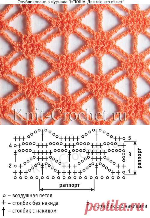 Openwork pattern for knitting by a hook