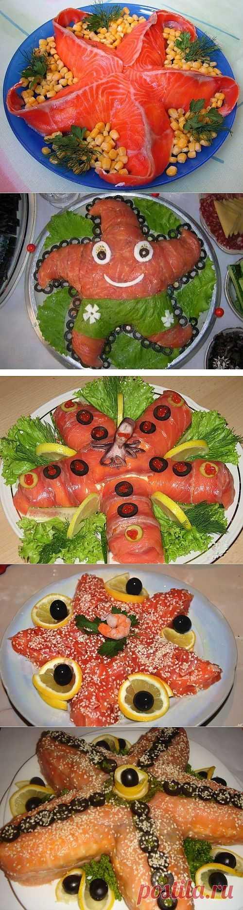 6 праздничных салатов с красной рыбой: собираем и оформляем морскую звезду / Простые рецепты