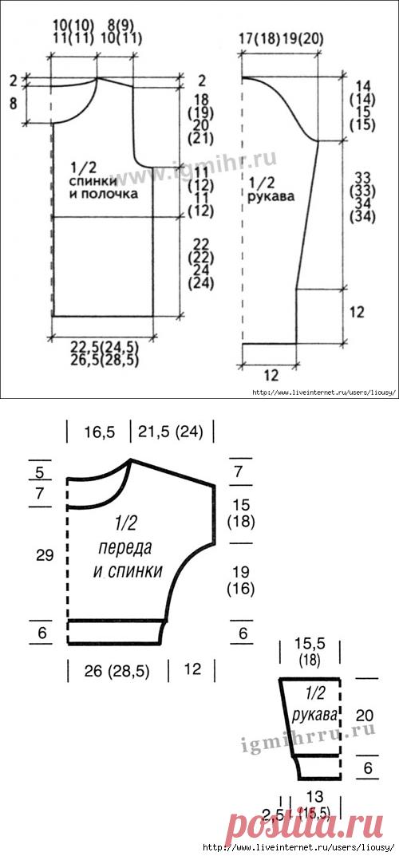 Универсальные выкройки для вязания жакетов и пуловеров