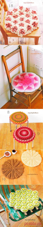 Подушки — сидушки. 40 ковриков на сиденья со схемами - Вязание - Моя копилочка