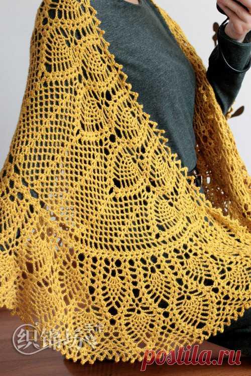 шаль с ананасами крючком схема как связать шаль ананасы крючком