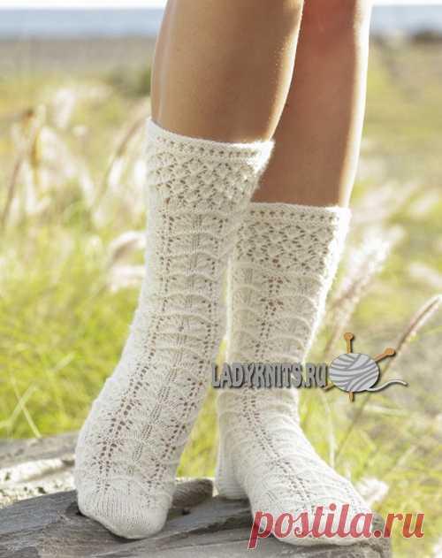 вязаные спицами красивые ажурные носки весенний снег носки постила