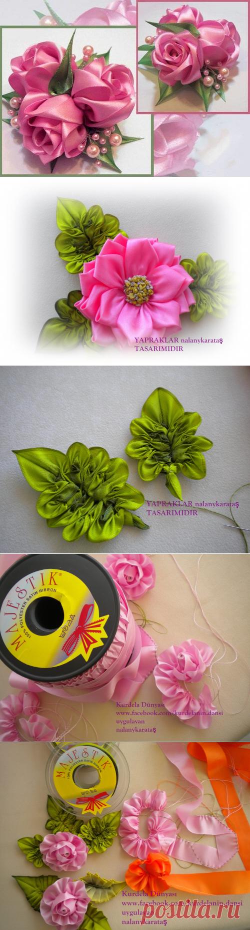 Очаровательные розы из шелковых лент, МК — Рукоделие