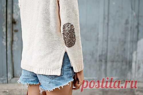 Креативные заплатки - с пайетками! / Свитер / Модный сайт о стильной переделке одежды и интерьера