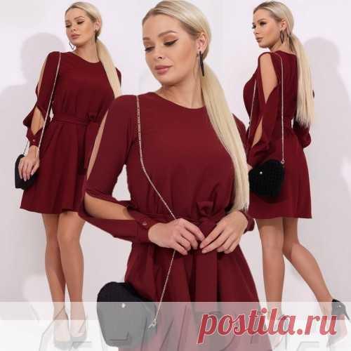 Платье с разрезами на рукавах купить недорого