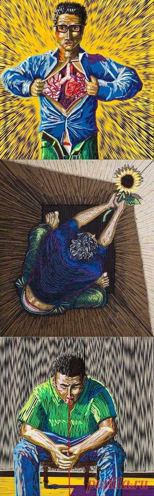 Современный экспериментальный колумбийский художник Frederico Uribe создает сюрреалистичные картины из……. Как думаете, из чего?