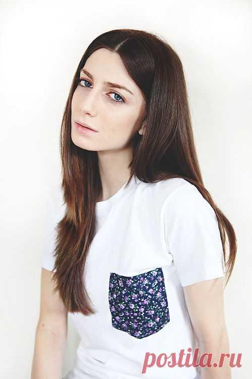 Контрастный кармашек в цветочек / Футболки DIY / Модный сайт о стильной переделке одежды и интерьера