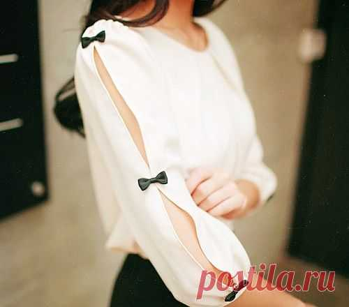 Рукав с бантиками / Блузки / Модный сайт о стильной переделке одежды и интерьера